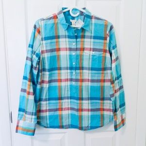 NWT J. Crew Long Sleeve Plaid Popover
